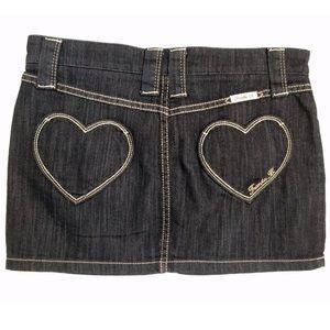 NWOT Frankie B Heart Pocket Denim Jean Mini Skirt